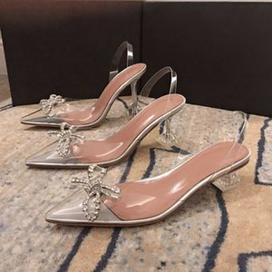 Amina Muaddi crystal sexy women transparent dress shoes Limited edition 7cm 10cm High heel business party shoe comfort Beading Buckle Ribbons Rivets