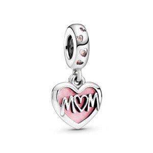 925 Ayar Gümüş Boncuk Annem Anne Script Kalp Dangle Charm Fit Orijinal Bilezik Takı Hediye