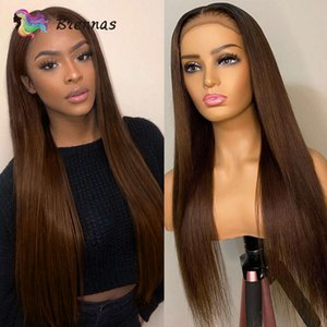 Straight 4X4 Closure Lace Human hair Wigs for Women Rights Brown colour 13X1 T Share Lace Prune Pre plucked Brazilian Remy Hair