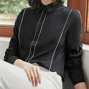 Women's Blouses & Shirts Elegant Fashion Striped Shirt Women Tops Autumn Long Sleeve Chiffon Black Silk Slip Office Ladies Clothing 2021