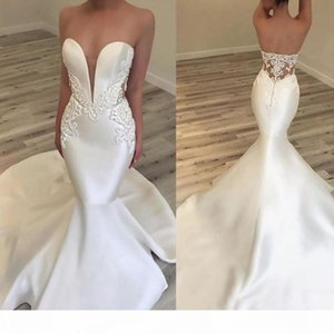 2019 Gorgeous Mermaid Lace Wedding Dresses Sleeveless V Neck Illusion Wedding Gowns Appliqued Chapel Train Bridal Gowns