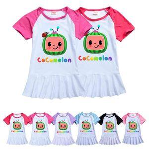 Summer Toddler Girls Dresses Cocomelon Cartoon Girl Clothes Boutique Milk Silk Skirt Short Sleeve Long T-shirt Tee Birthday Dress Design Kids Costume G49N657