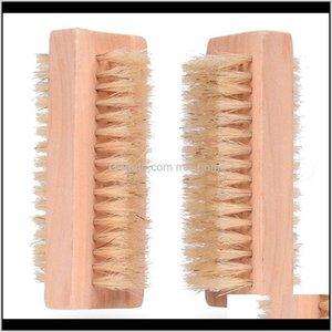 Очистка древесины двухсторонний натуральный кабан щетины деревянный маникюр гвоздь курортный спа-салон двойной поверхность щеткой для очистки рук щетки 10 см FFA2840 9LID2 OKEVB