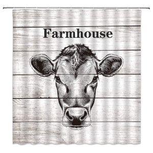 Farm Shower Curtain Cool Cattle Cow Head Sketch Portrait on Rustic Wooden Decor Country Farmhouse Retro Art,Fabric Bathroom Set
