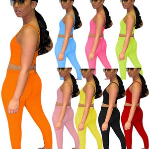 2 Piece Set Tracksuits Women Summer Clother Elastic Crop Top and Stacked Legging Pant Suit Sexy Club Outfits Two-Piece Matching Sets