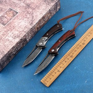 Portable VG10 Damascus Steel + Dalbergia Handle Folding Knife with Bearing Outdoor Tactical Self-defense Hunting Fishing EDC Tool