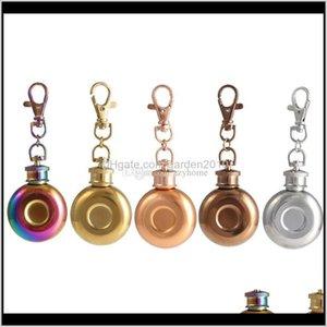 Frascos 1oz Mini Licor de vino portátil redondo Pote de vino de acero inoxidable Metal pequeño Hip Frasco con llavero 28ml 2Vbbi B5TBD