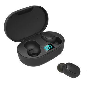 مصغرة TWS سماعات أذن لاسلكية E6S سماعة HIFI الصوت بلوتوث سماعة 5.0 مع ميكروفون مزدوج الصمام عرض سماعات إقران السيارات
