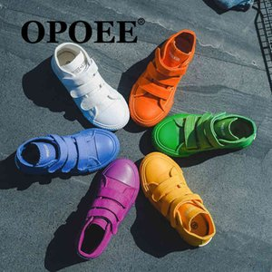 OPOEEE 2021 primavera coreano alto top caramelo Color Tendencia para niños Lienzo Casual Board Shoes 5015