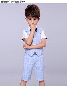 Suits 2Pcs sets Summer Wedding Of Boys Children Formal Prom Party Dress Graduation Kids Boy Tuxedo Shirts Waistcoat Shorts Suit