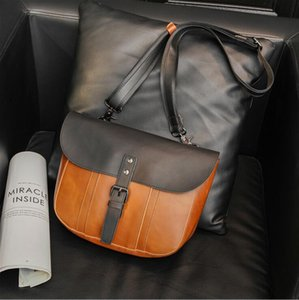 Factory wholesale men brand shoulder bags simple flip contrast handbag retro leather backpack street trend color matching fashion postman bag rainbowpo2016