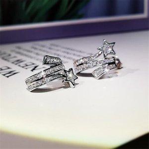 Yeni Çarpıcı Takı 925 Ayar Gümüş Yıldız Küpe Açacağı Beyaz Safir Kadınlar Düğün Saplama Küpe Hediye WJL2579