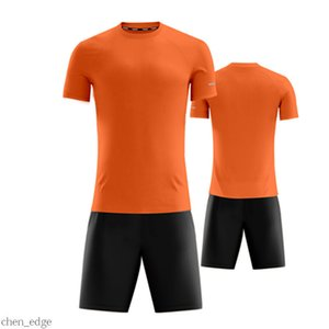 Custom orange Short sleeve Blank Team Soccer Jerseys Set wholesale Customized Tops With Shorts Training Jersey fashion Running uniform kits