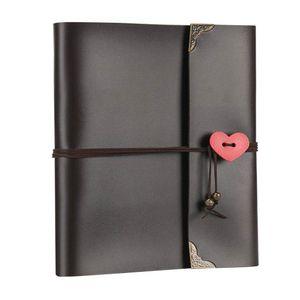 DIY Scrapbook Vintage Leather Photo Album Black PagesTravel Record Book Wedding Guest Book Valentines Anniversary Christmas 210330