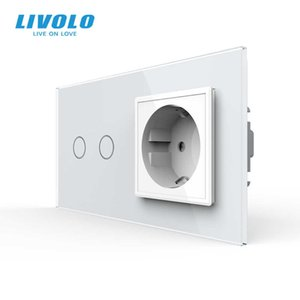 Livolo 16A EU standard Wall Power Socket with Touch Switch, AC220~250V,7 colors Crystal Glass Panel, C702-C7C1EU-11,no