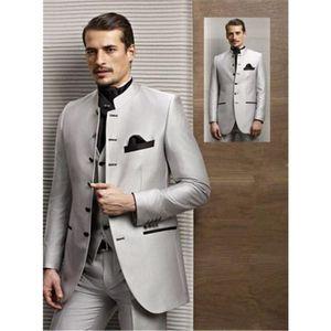 Ternos masculinos Blazers Moda Terno Prata Collar Chinês Single Row Business office Professional (jaqueta + colete de calças) feito sob encomenda