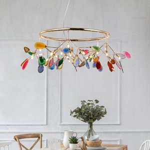 Chandeliers Nordic Agate Firefly Led Chandelier Fashion Living Room Decor Romantic Bedroom Wedding Indoor Decorative Light