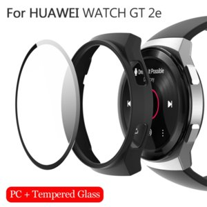 Matte hard pc case cover with 9h tempered glass screen protector  ultra thin full cover for huawei watch gt 2e 46mm