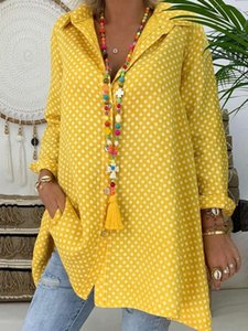 Women's Blouses & Shirts Brand Women Ladies V-Neck Casual Polka Dot Long Sleeve Shirt Tops Loose Blouse Plus Size