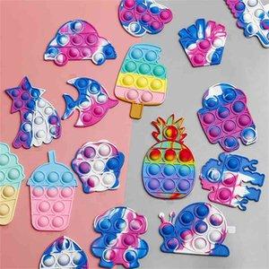Rainbow Creative Push Pop Mini Fidget Toys Key Chain Tie Dye Fashion Children's Poppers Bublles Decompression Silicone Toy Pandents Key Ring G94UWZN