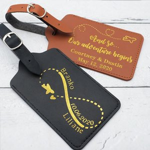 Personalized Luggage Tag Leather Gold Foil Wedding Favors Traveler's Gift Accessory Couple Party Favor