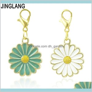 Charms Findings Components Jewelry Drop Delivery 2021 Jinglang Enamel Simple Cartoon Daisy Flower Pendent Dangle Charm Fit Original Bracelets