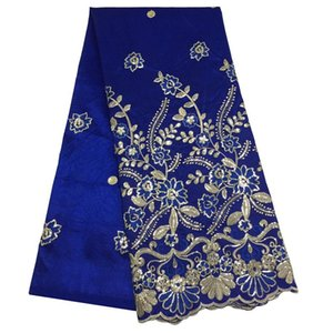Ribbon Latest Nigerian Sequins Wax George Lace Fabric Flower Embroidered African For DIY Clothing