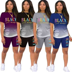Women Tracksuit Summer Short Sleeves Tops Tees Shorts Gradient Colors Letter Two Piece Set Outfits Sport Suit G57WYZR