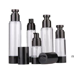15ml 30ml 50ml Empty Black Airless Lotion Cream Pump Plastic Container Vaccum Spray Cosmetic Bottle Dispenser HWE9282