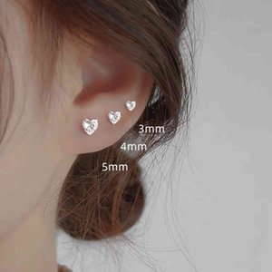 999 heart shaped silver earrings for men and women, small earrings, cubic zirconia, simple style, wedding
