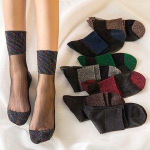 Mujeres Sport Socks Yoga Thin Crystal Seda Transparente Seda Pilates Calcetines Ankle Sox Sexy Design Sport Sockas Sockas 1053 Z2
