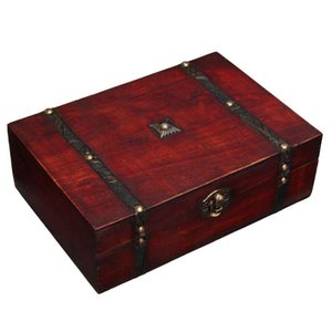 Ретро блокируемая коробка держатель ювелирных изделий ящик для хранения винтажного хранения Деревянные хранения фотографии реквизиты подарки чехлы 23x16x7.5cm