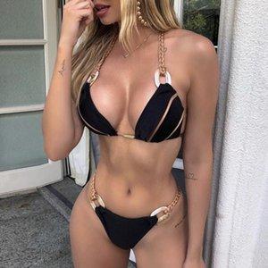 Donne Black Bandeau Bikini Set Swimwear senza spalline Push Up Biquini Sexy Thong Thong Patchwork Costume da bagno Backless Bathins thing # T1Q Donne
