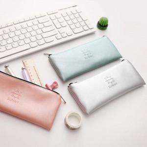 Pencil Cases 1 Pcs Kawaii Case Big Zipper Estuches School Box Bag Supplies Stationery PVC Hardcover PU 55g