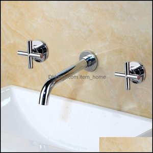 Bathroom Faucets, Showers As Home & Gardethroom Sink Faucets Taps Fashion Wall Basin Mixer Tap Set Spout Faucet With Double Lever In Mablack