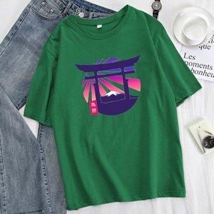Women's T-Shirt Fashion Fuji Print Woman Oversized 2021 Summer Harajuku Big Size Tops Street Hip Hop Loose Tee Simple Female T Shirt