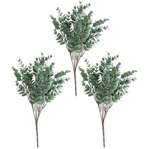 Artificial Small Eucalyptus Green Simulation Floral,Artificial Plant Fake Silver Dollar (3Pcs) Decorative Flowers & Wreaths