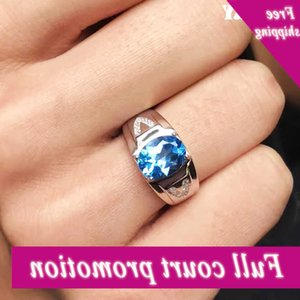 Men Ringing Natural Topaz Gem Man Real 925 Sterling Silver Precious Blue Gemstone Fine Jewelry
