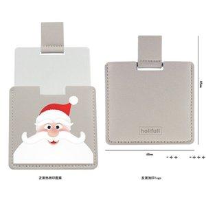 Christmas PU Leather Pocket Makeup Mirror Cartoon Travel Portable Mini Mirrors Creative Halloween Gift FWA8873
