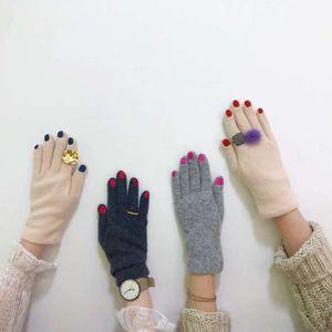 chapéu inverno manicure nicho divertimento esmalte, luvas, bordado, calor, luvas de lã
