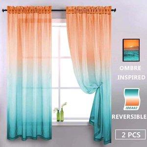 Cortina cortina cor gradiente semi sheer cortinas brilhantes modernas para quarto sala de estar janela de janela fácil de limpar