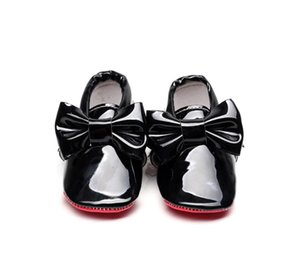 Red Bottom Patent Leather Baby Shoes For Girls big bow Newborn Baby Girls Moccasins Infant first walker Crib Shoes 0-24M