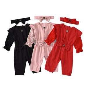Infant Baby Jumpsuit Solid Colors Lace Long Sleeve Jumpsuits Toddler Onesies Kids Girls Bow Zipper Rompers Headband Ropa Bebe 6M-5T 061212