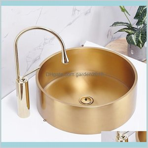 Bathroom Sinks Fixtures Building Supplies Home & Garden Ktv Washbasin El Villa Art Basin Round Above Counter Sink Bowl Small Size Gold
