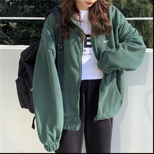 Womens Hoodies Harajuku Women Zip up Plus Velvet Fleece Warm Winter Jacket Casual Loose Stand Collar Oversized Hoodie