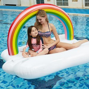 Giant Rainbow Floating Island Inflatable Row Adults Pool Floats Mattress Swimming Ring Beach Water Bed & Tubes