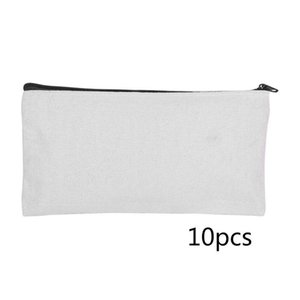 10Pcs DIY Craft Blank Bag Canvas Makeup Pencil Pouch Multipurpose Case Cosmetic Bags & Cases