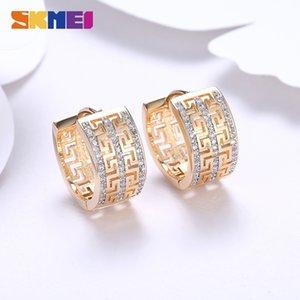 SKMEI Three stud Row Zircon Great Wall Pattern Hoop Earrings For Women Party Wedding Accessories Romantic Lady Luxury Jewelry LKN023