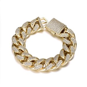 Link, Chain HIP Hop CZ Stone Paved Bling Iced Out 19mm Round Cuban Miami Link Bracelet For Men Rapper Jewelry