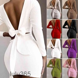 2021 Casual Dresses Women Dress Sexy Bow Backless O-Neck Tight Long Sleeve Halter Spaghetti Clubwear Bodycon Party Mini skirt lulu365